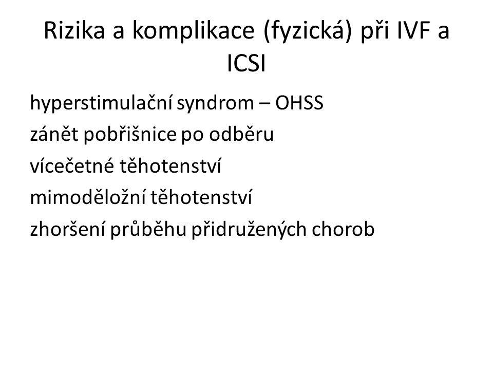 Rizika a komplikace (fyzická) při IVF a ICSI
