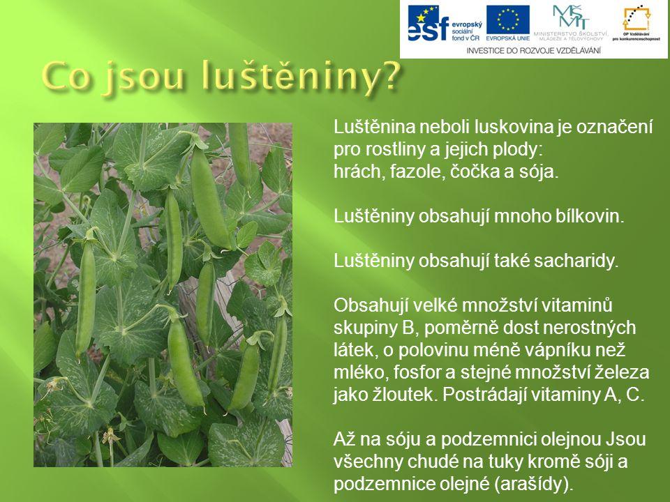 Co jsou luštěniny Luštěnina neboli luskovina je označení pro rostliny a jejich plody: hrách, fazole, čočka a sója.
