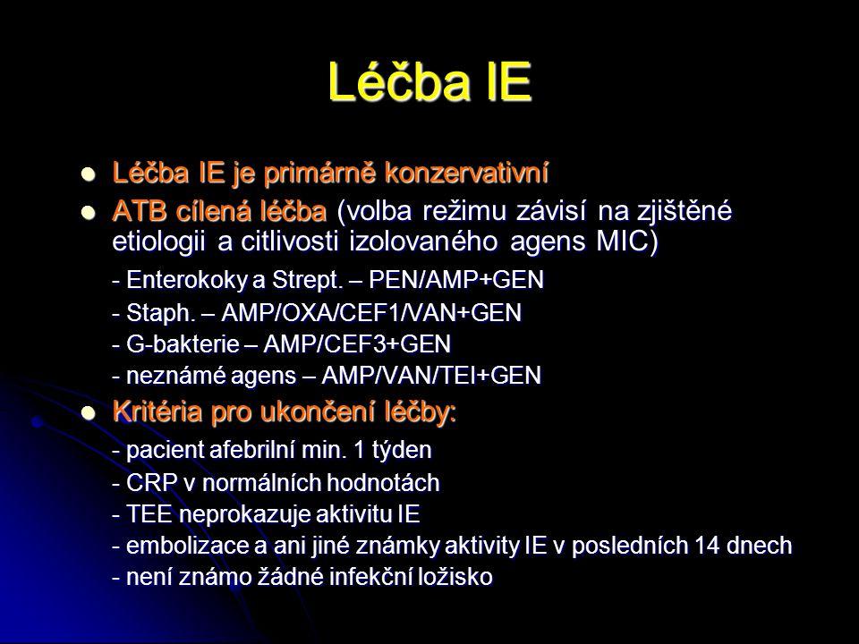 Léčba IE Léčba IE je primárně konzervativní