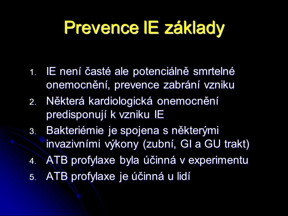 Prevence IE základy IE není časté ale potenciálně smrtelné onemocnění, prevence zabrání vzniku.