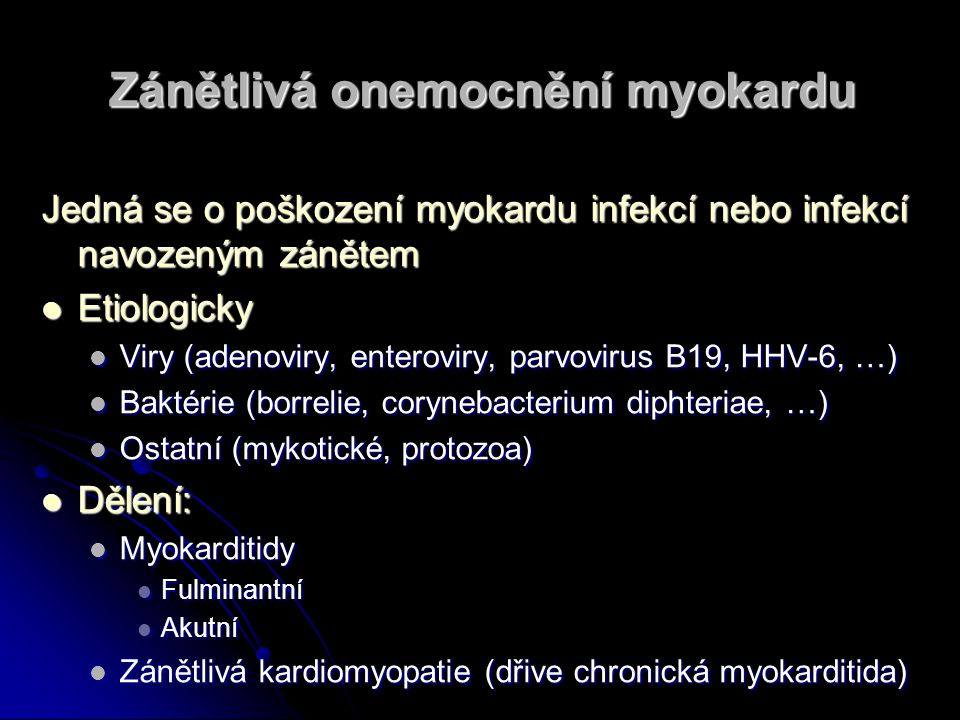 Zánětlivá onemocnění myokardu