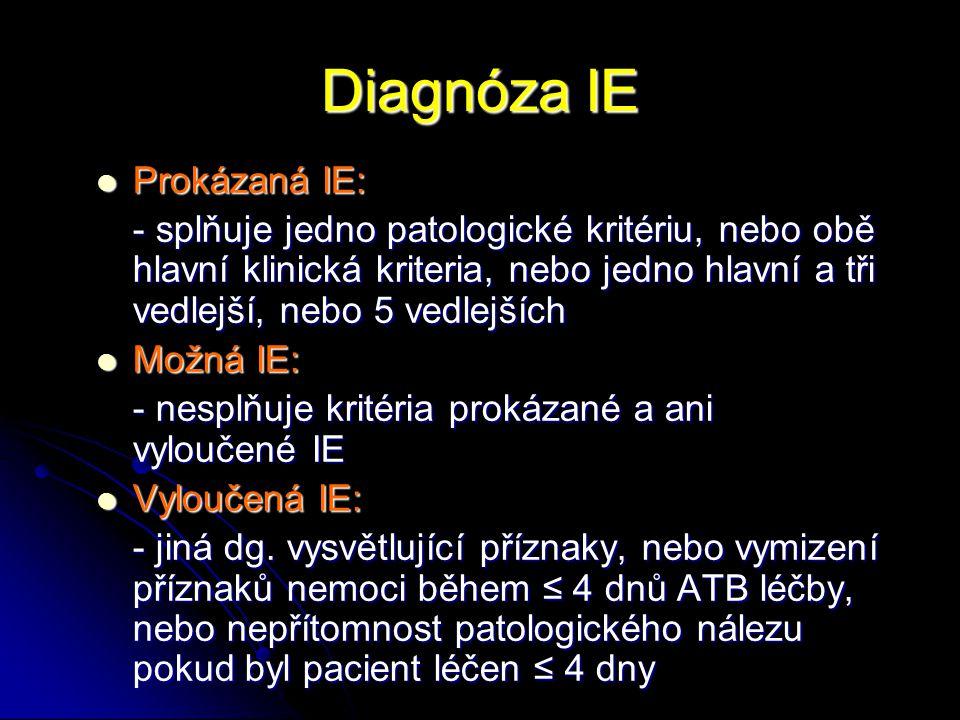 Diagnóza IE Prokázaná IE: