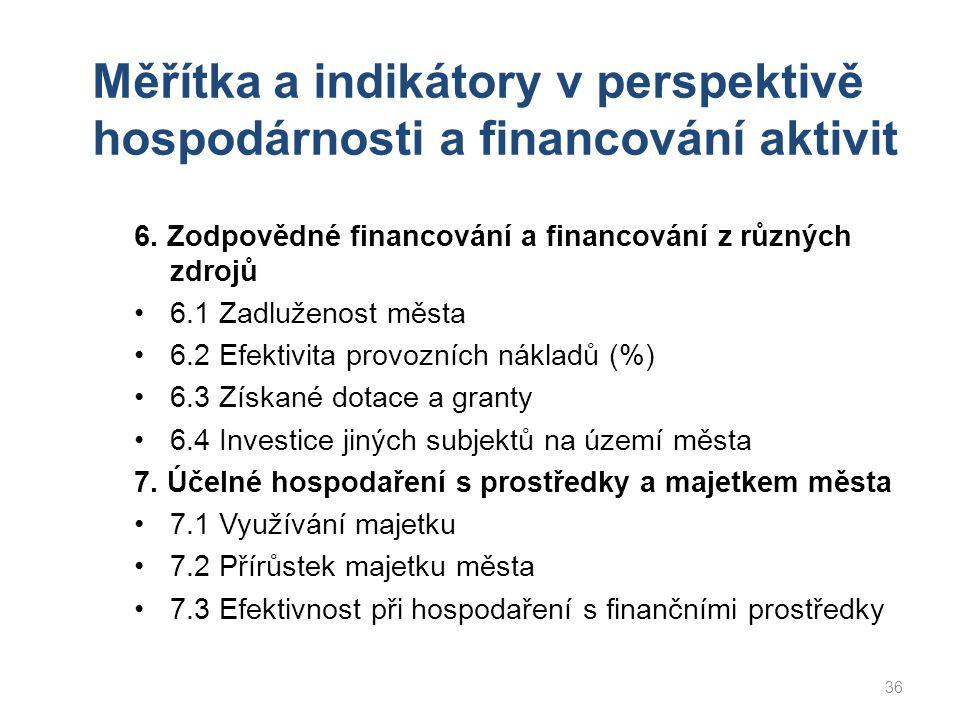 Měřítka a indikátory v perspektivě hospodárnosti a financování aktivit