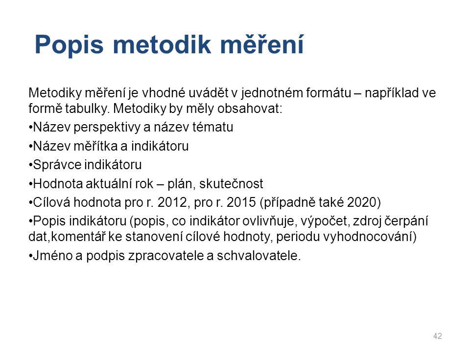 Popis metodik měření Metodiky měření je vhodné uvádět v jednotném formátu – například ve formě tabulky. Metodiky by měly obsahovat:
