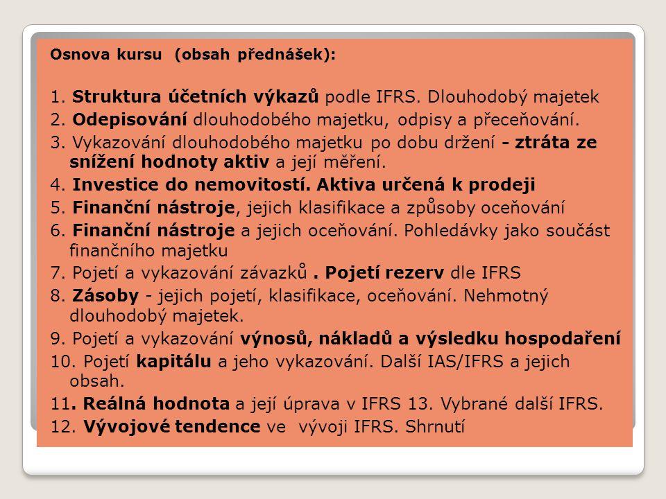 1. Struktura účetních výkazů podle IFRS. Dlouhodobý majetek