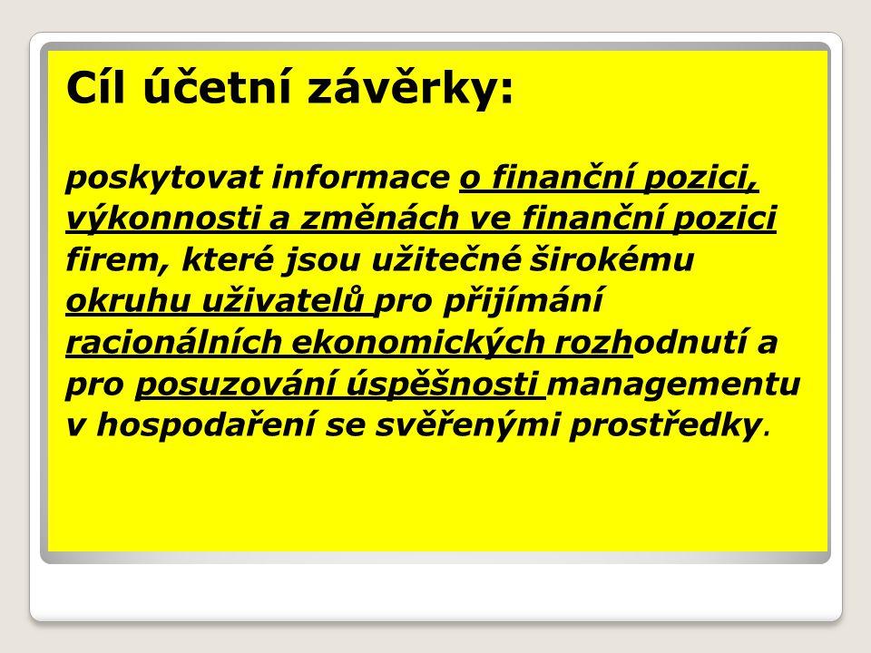 Cíl účetní závěrky: poskytovat informace o finanční pozici,