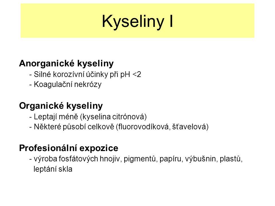 Kyseliny I Anorganické kyseliny Organické kyseliny