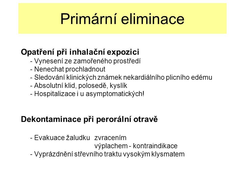 Primární eliminace Opatření při inhalační expozici