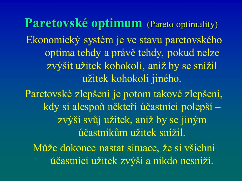 Paretovské optimum (Pareto-optimality)