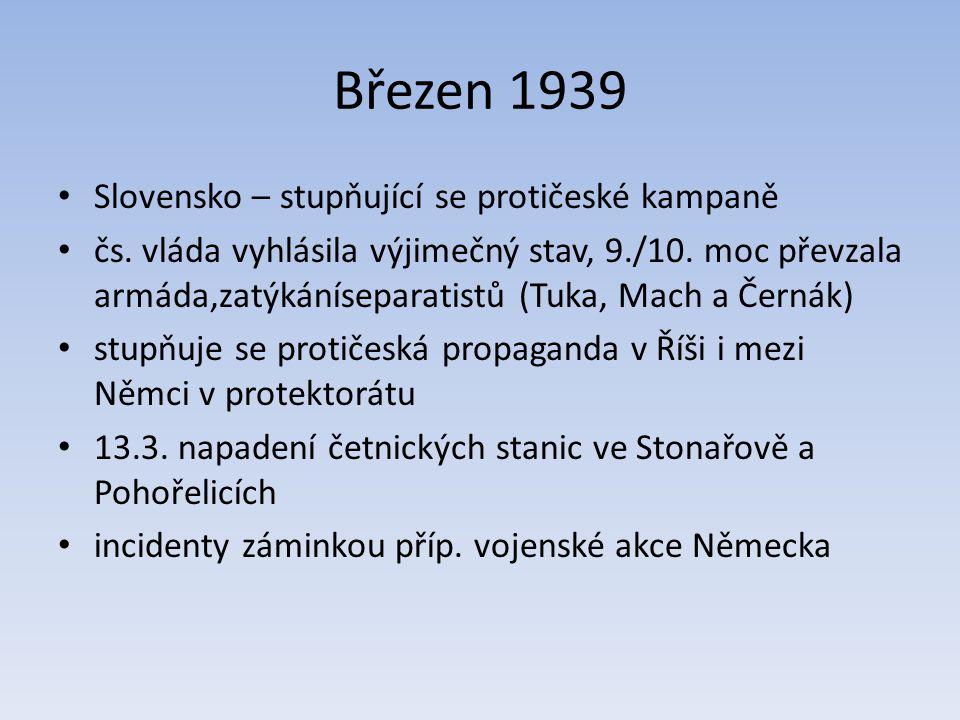 Březen 1939 Slovensko – stupňující se protičeské kampaně