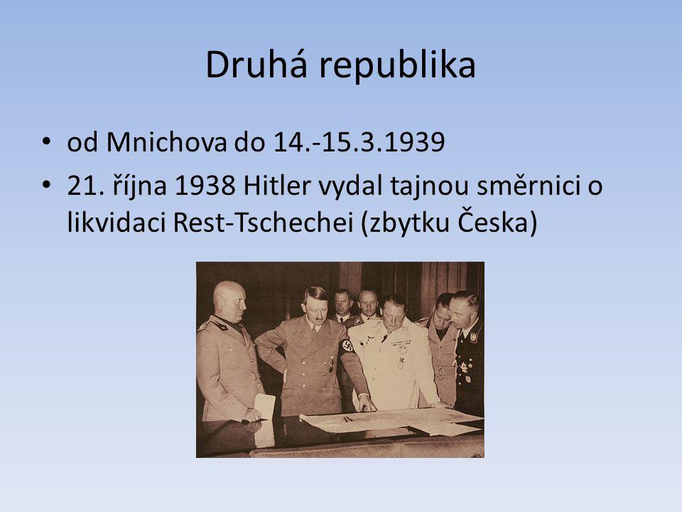 Druhá republika od Mnichova do 14.-15.3.1939
