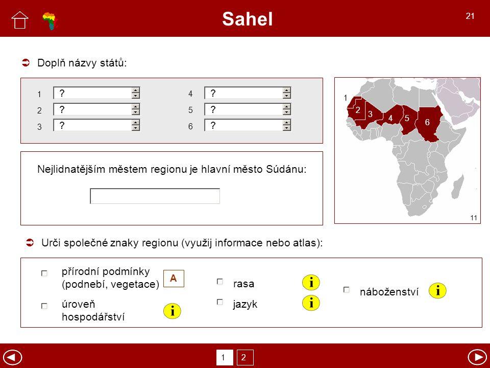 Sahel  Doplň názvy států: