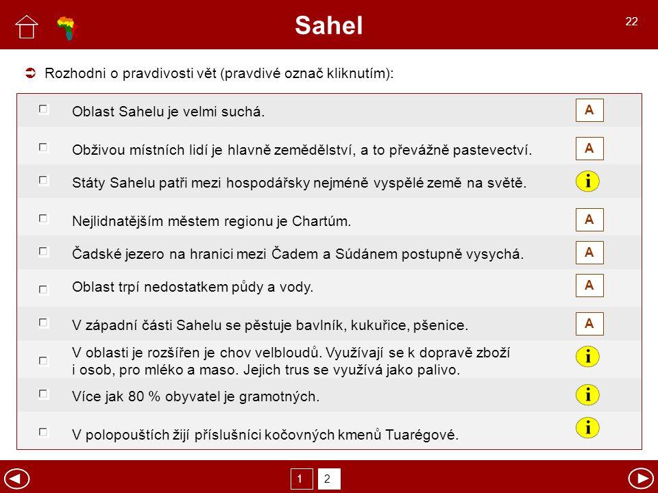 Sahel  Rozhodni o pravdivosti vět (pravdivé označ kliknutím):