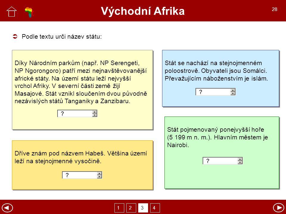 Východní Afrika  Podle textu urči název státu: