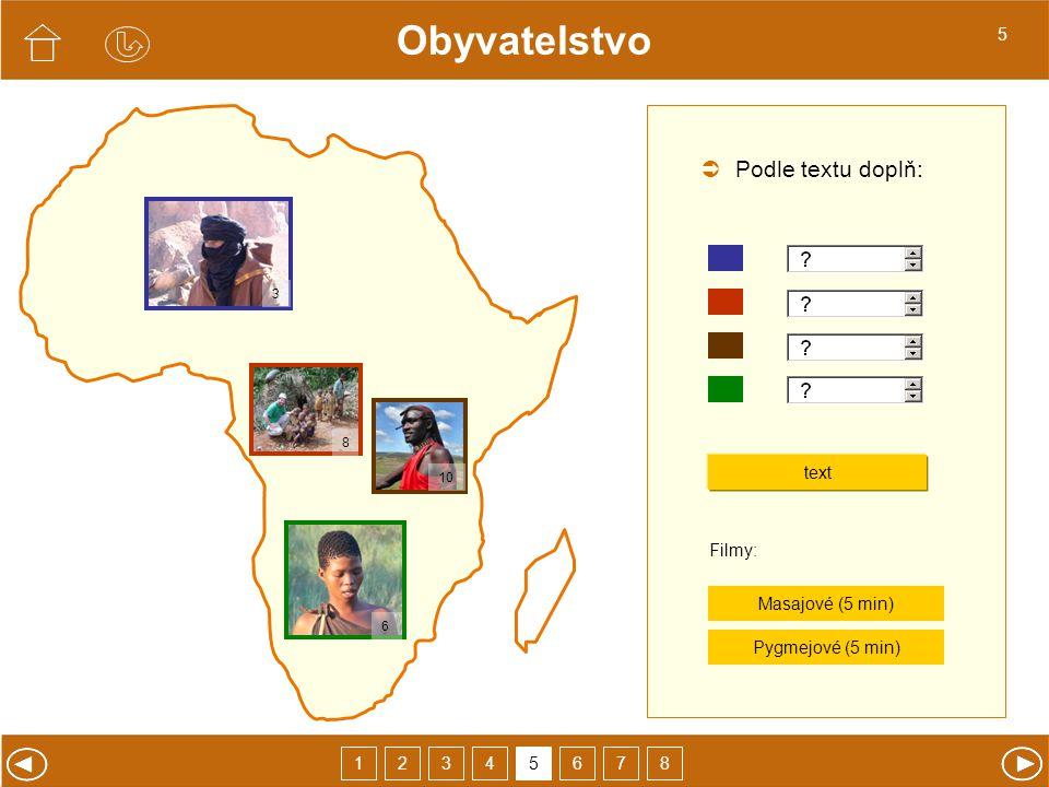 Obyvatelstvo  Podle textu doplň: 5 text Pygmejové (5 min) Filmy:
