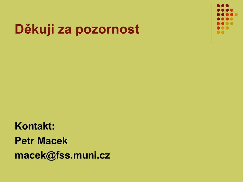 Děkuji za pozornost Kontakt: Petr Macek macek@fss.muni.cz