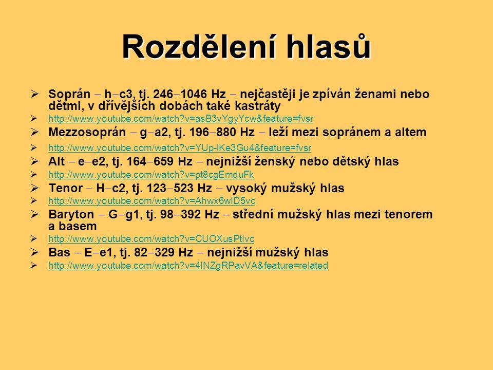 Rozdělení hlasů Soprán ‒ h‒c3, tj. 246‒1046 Hz ‒ nejčastěji je zpíván ženami nebo dětmi, v dřívějších dobách také kastráty.