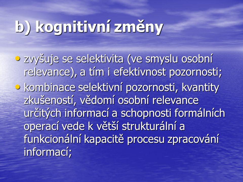 b) kognitivní změny zvyšuje se selektivita (ve smyslu osobní relevance), a tím i efektivnost pozornosti;
