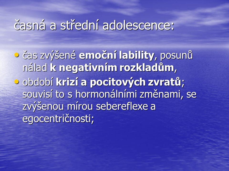 časná a střední adolescence: