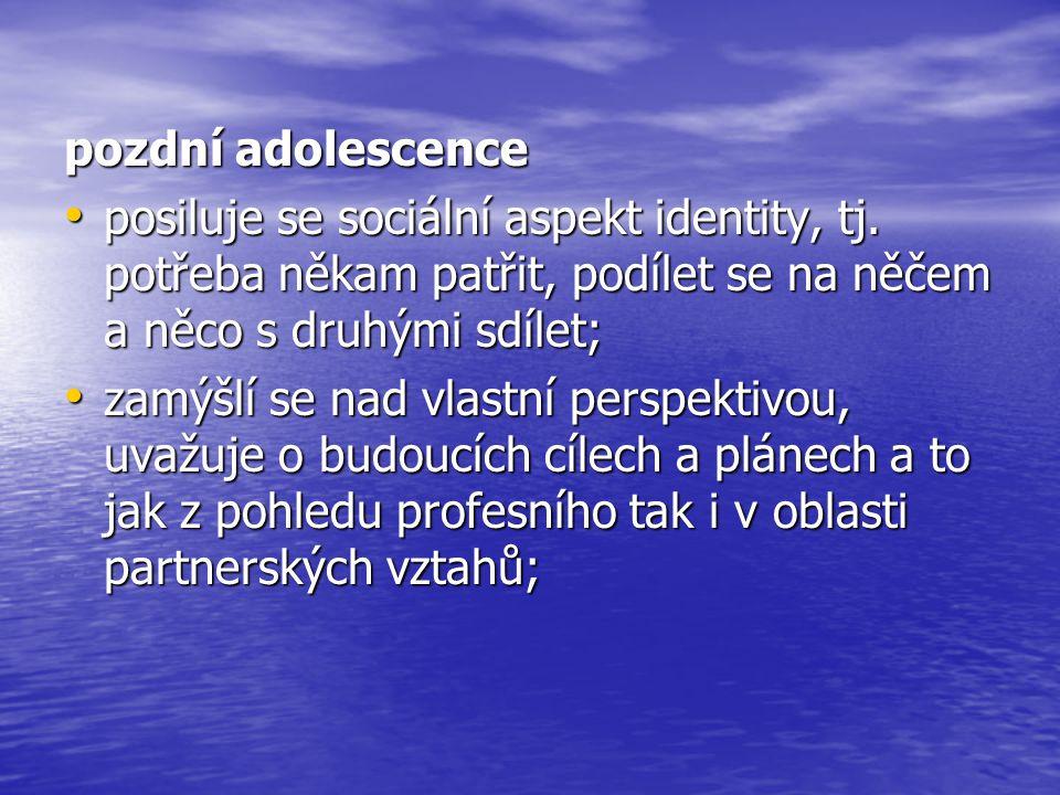 pozdní adolescence posiluje se sociální aspekt identity, tj. potřeba někam patřit, podílet se na něčem a něco s druhými sdílet;