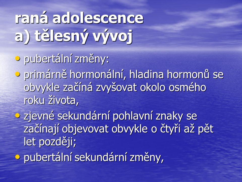 raná adolescence a) tělesný vývoj