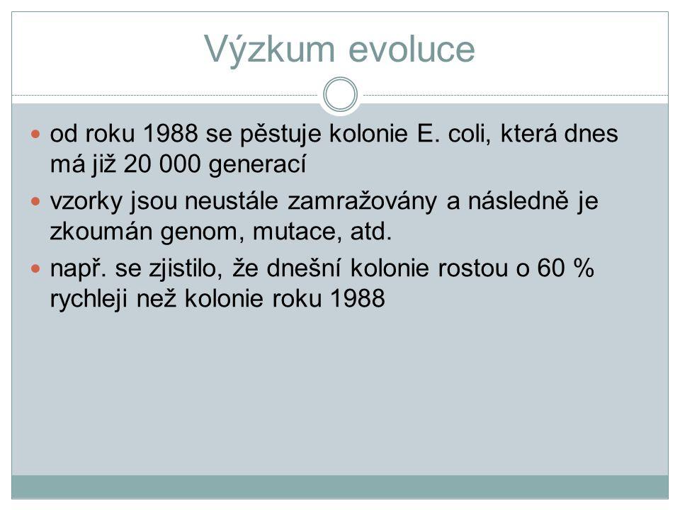 Výzkum evoluce od roku 1988 se pěstuje kolonie E. coli, která dnes má již 20 000 generací.