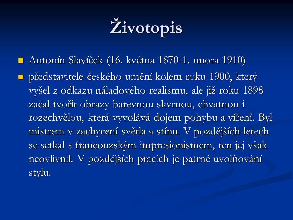 Životopis Antonín Slavíček (16. května 1870-1. února 1910)