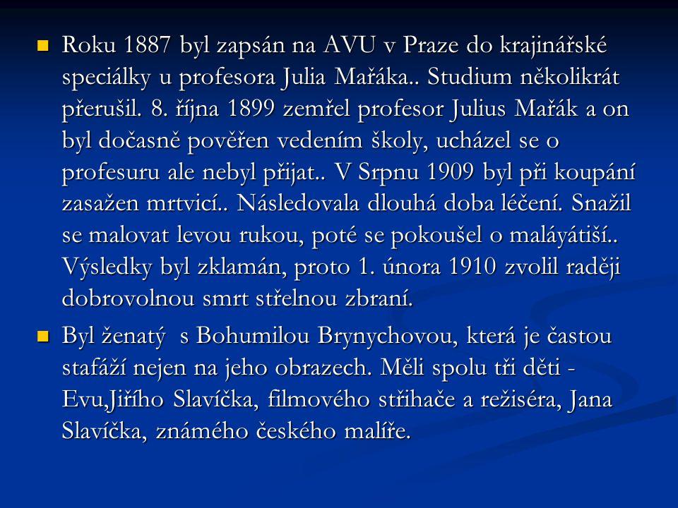 Roku 1887 byl zapsán na AVU v Praze do krajinářské speciálky u profesora Julia Mařáka.. Studium několikrát přerušil. 8. října 1899 zemřel profesor Julius Mařák a on byl dočasně pověřen vedením školy, ucházel se o profesuru ale nebyl přijat.. V Srpnu 1909 byl při koupání zasažen mrtvicí.. Následovala dlouhá doba léčení. Snažil se malovat levou rukou, poté se pokoušel o maláyátiší.. Výsledky byl zklamán, proto 1. února 1910 zvolil raději dobrovolnou smrt střelnou zbraní.