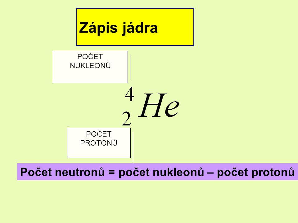 Zápis jádra Počet neutronů = počet nukleonů – počet protonů