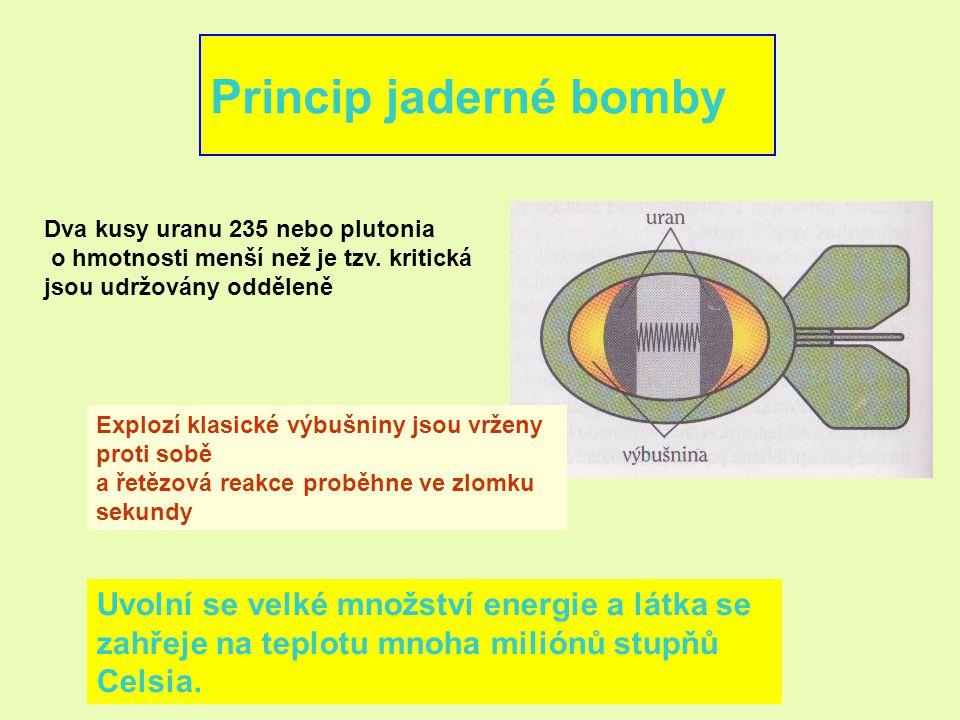 Princip jaderné bomby Uvolní se velké množství energie a látka se
