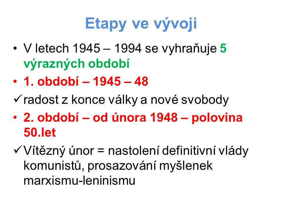Etapy ve vývoji V letech 1945 – 1994 se vyhraňuje 5 výrazných období