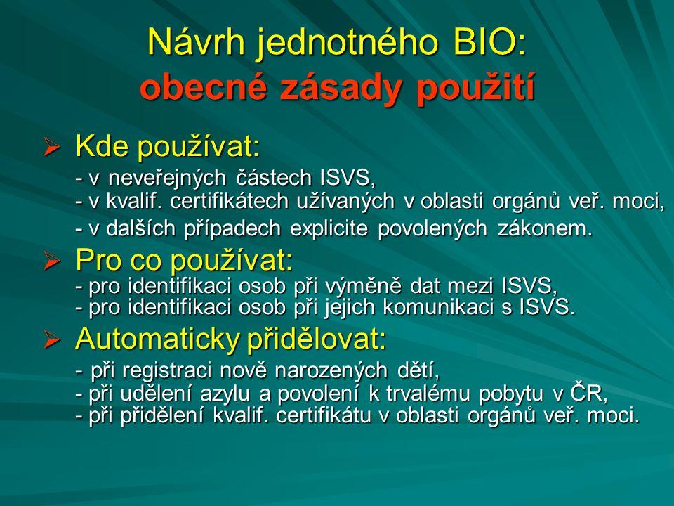 Návrh jednotného BIO: obecné zásady použití