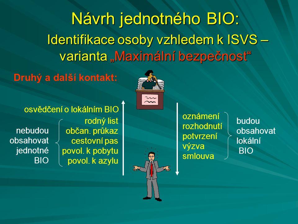 """Návrh jednotného BIO: Identifikace osoby vzhledem k ISVS – varianta """"Maximální bezpečnost"""