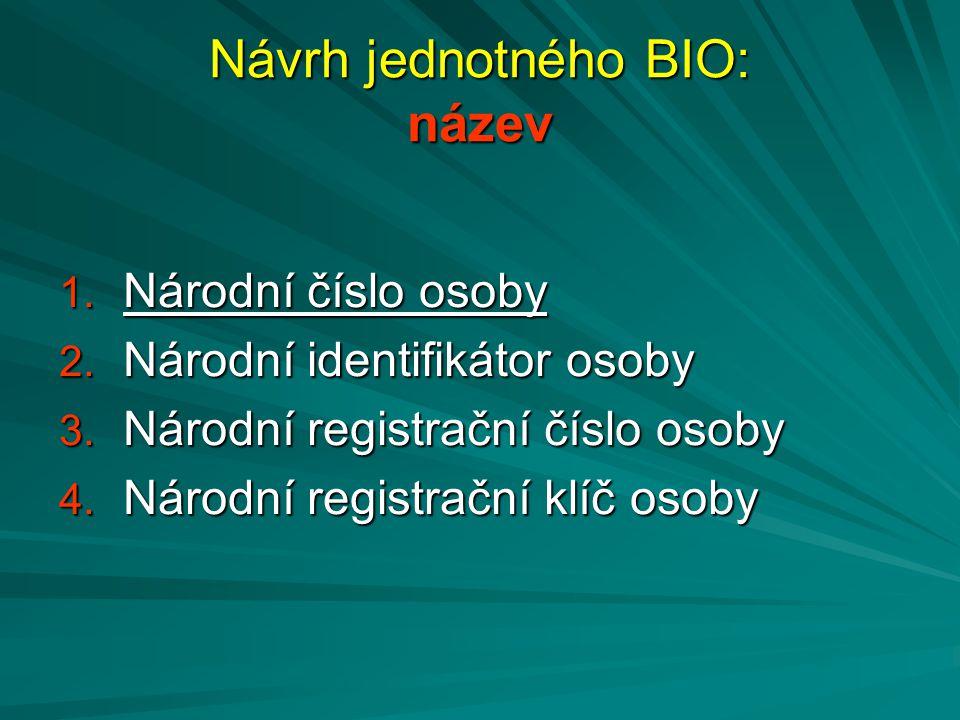 Návrh jednotného BIO: název