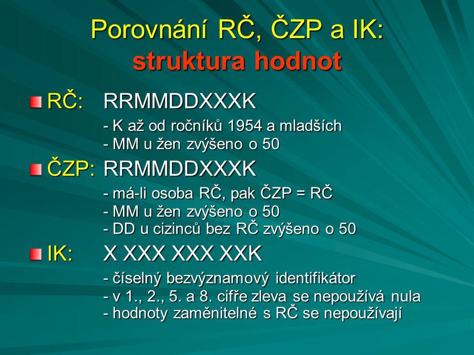 Porovnání RČ, ČZP a IK: struktura hodnot