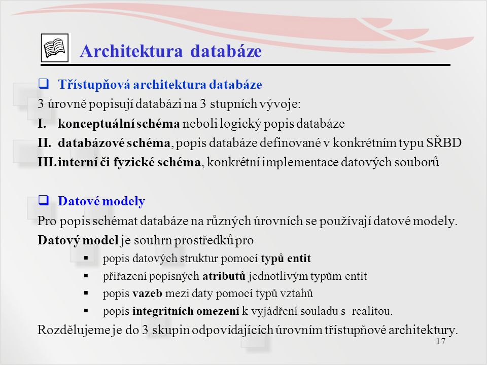 Architektura databáze