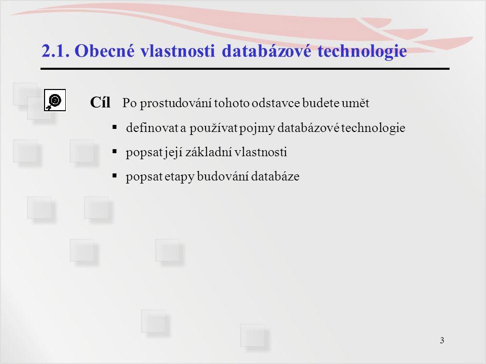 2.1. Obecné vlastnosti databázové technologie