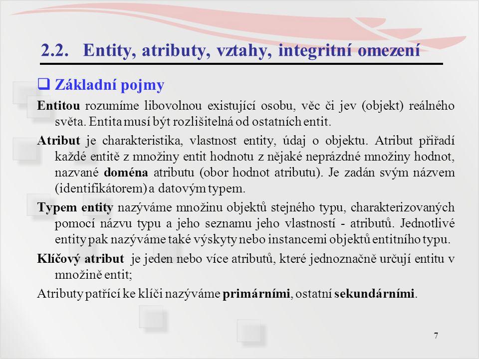 2.2. Entity, atributy, vztahy, integritní omezení