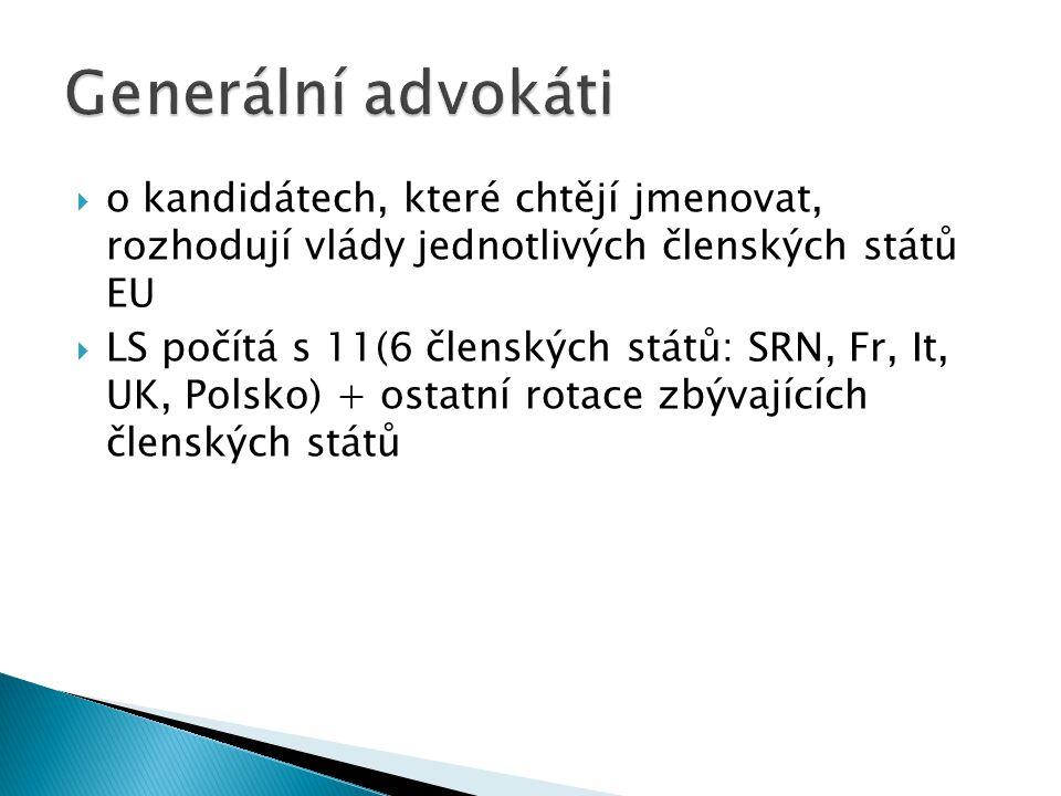Generální advokáti o kandidátech, které chtějí jmenovat, rozhodují vlády jednotlivých členských států EU.