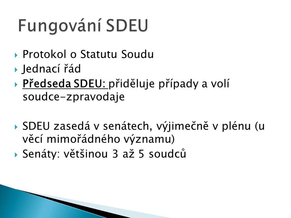 Fungování SDEU Protokol o Statutu Soudu Jednací řád
