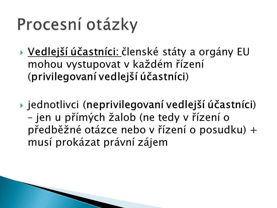 Procesní otázky Vedlejší účastníci: členské státy a orgány EU mohou vystupovat v každém řízení (privilegovaní vedlejší účastníci)