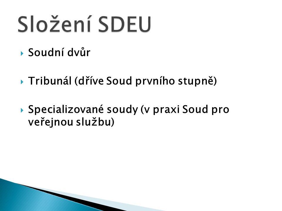 Složení SDEU Soudní dvůr Tribunál (dříve Soud prvního stupně)