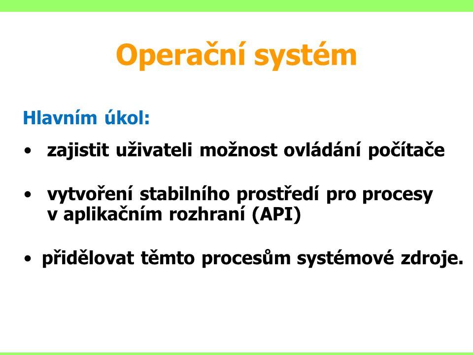 Operační systém Hlavním úkol: