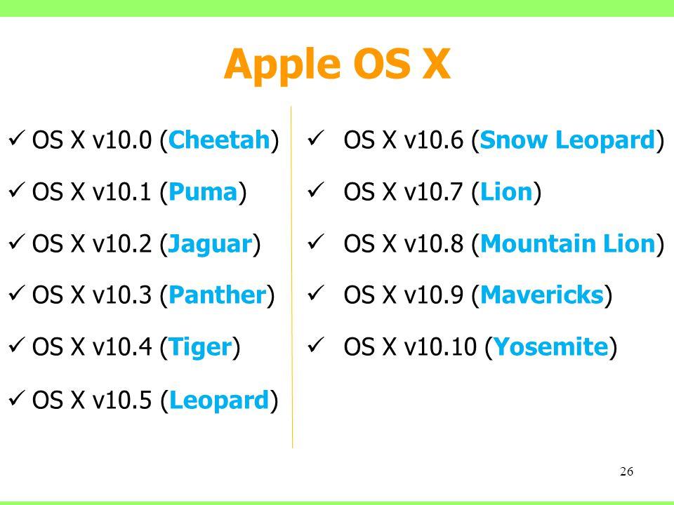 Apple OS X OS X v10.0 (Cheetah) OS X v10.1 (Puma) OS X v10.2 (Jaguar)