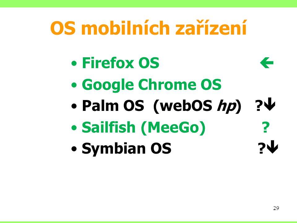 OS mobilních zařízení Firefox OS  Google Chrome OS