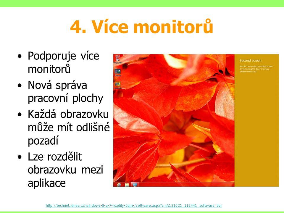 4. Více monitorů Podporuje více monitorů Nová správa pracovní plochy