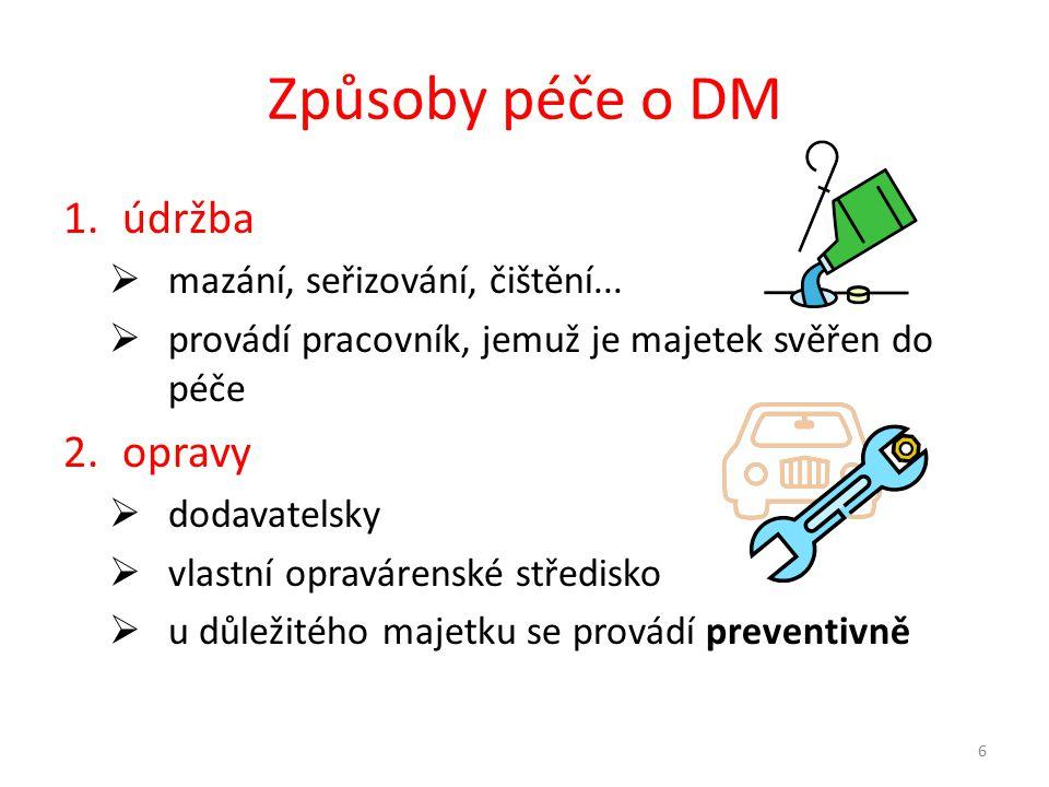 Způsoby péče o DM údržba opravy mazání, seřizování, čištění...