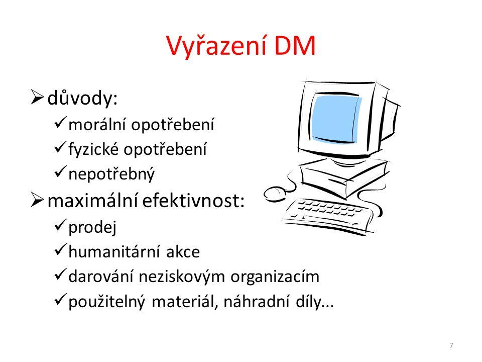 Vyřazení DM důvody: maximální efektivnost: morální opotřebení