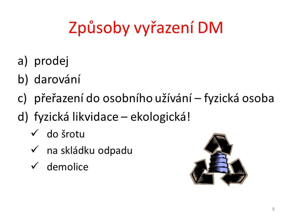 Způsoby vyřazení DM prodej darování