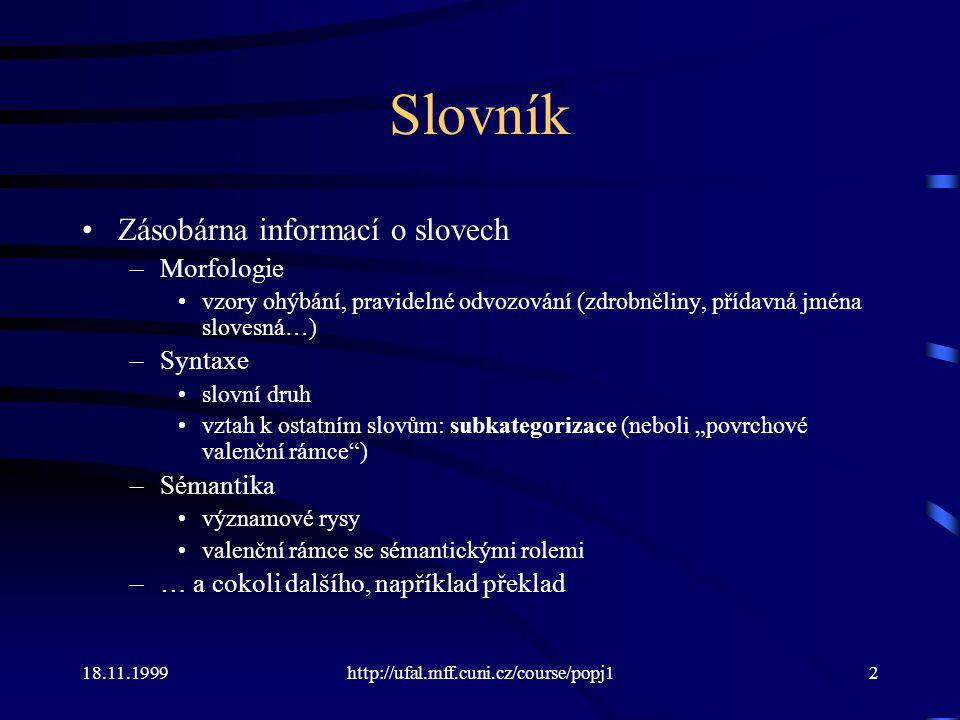 Slovník Zásobárna informací o slovech Morfologie Syntaxe Sémantika
